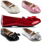 NEW Girls Patent Leather Ballet Flat shoes - Black Pink Silver sz AU5 - big AU 3