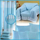 Blue Polka Dots Curtains Pair & Filled Cushions Covers Large Small White