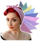 Rockabilly Gingham Bandana, Retro Head Scarf, Roller Derby Bandana, kitsch