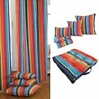 Multi Colour Stripes Curtains Pair & Filled Cushions Covers Large Small Eyelet
