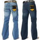 New Mens Bootcut Loose Fit Dark Blue Wide Leg Distressed Denim Jeans Big Sizes