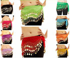 3 Row Belly Dance Hip Wrap Scarf Skirt Belt Dancing Costume with Gold Coins&Bead