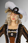 Women's Renaissance Style Hat Cap with White Fur Costume, Handmade