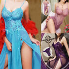 Sexy Women Lingerie Long Lace Gown+G-string Babydoll Underwear Nightwear Chemise