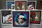 handmade mini gothic christmas cards set 1, a choice of one or set of six skulls