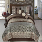 11 Piece Luxury Comforter Bedding Set Safari Brown Bed in a Bag with Sheet Set
