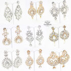 LONG CHANDELIER CRYSTAL DIAMANTE DANGLING DROP EARRINGS *SILVER OR GOLD*