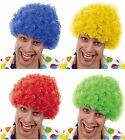 CLOWN WIG Curly Afro Fancy Dress Costume Funky Disco Wigs Blue Red Yellow Green
