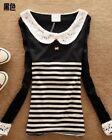 New Lace Collar Sailor Long Sleeve Womens Striped Patchwork T-shirt Tops Tee 1DA