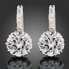 New Women's 18k White Gold Gp Clear Crystal Zircon Cz Earrings
