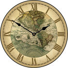 Large wall clock, 1596 World Map Clock 12-48 Whisper Quiet, Non-Ticking