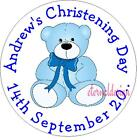 PERSONALISED CHRISTENING DAY BLUE TEDDY STICKER SEAL GIFT FAVOUR INVITE CDCS4