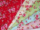 TINY LOLA Vintage Shabby Chic Pink Rose Floral Red Blue Green Cotton Fabric M