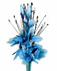 Teal Artificial Flowers - Nylon Gossamer Flower Arrangement in Vase With Grass
