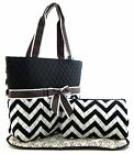 Chevron Zigzag Print Fabric Quilted 3PC SET Diaper Tote Bag Purse Black+3Colors