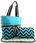 Chevron Zigzag Print Fabric Quilted 3PC SET Diaper Tote Bag Turquoise +3Colors