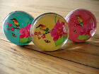 Oriental Style Drawer Knob, Japanese Birds Pink Blue Yellow Cupboard Handle Pull