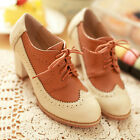 VINTAGE GIRLS BLOCK HEELS SCHOOL BROGUES SHOES WOMENS LACE UP OXFORD PUMPS SHOES