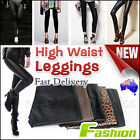 Women High Waist Leather Look Stretch Leggings Lady Tight Pants Sexy Size 6-14