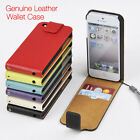 For Apple iPhone 5/5S/SE Genuine Leather Wallet Case Slim Top Flip Cover 5T
