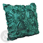 Satin Rose Cushions - Luxury Teal Green Scatter Faux Silk Floral Cushion Covers