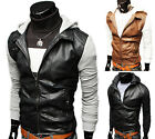 UK FAST!!Cool Men Slim Fit Faux Leather Coat Jacket Motorcycle Hoody Outerwear
