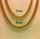 "18""- 30"" Men's Stainless Steel 5mm 6mm 24K Gold Plated Cuban Link Chain Necklace"