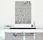 """This Is Your LIFE"" Removable Wall Stickers Quotes Wall Decal Art Mural Decor"
