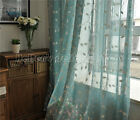 French Country Provincial Embroidered Floral blue Sheer Curtain Panel Q009