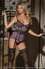 SEXY COQUETTE MESH OVER POWERNET BUSTIER CORSET LINGERIE