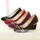 Womens Ladies Wedge Causal Shoes High Heels Pumps Classics Kitten Heels Size