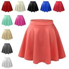 Womens Basic High Waisted Stretch Flared Pleated Plain Mini Skater Skirt NEWSK06