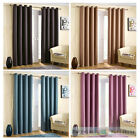 Basket Weave Light Reducing Eyelet Curtains Blockout Thermal Ring Top Ready Made