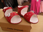 girls shoes/sandal in red leather by pretty originals bnwb sizez 24 to 27