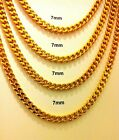"24K Gold Plated Stainless Steel Men's Cuban Link 7mm Chain Necklace 22"" to 30"""