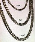 "18""-30"" Stainless Steel Men or Women Cuban Link Curb Chain Necklace 4mm 7mm 8mm"