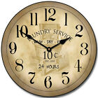 Large wall Vintage Laundry Room Clock,12- 36 Whisper Quiet, Non-Ticking