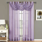 Abri Lavender Grommet Crushed Sheer Curtain Panel - All Sizes