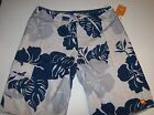 NEW Quiksilver swim boardshorts board shorts gray blue Hibiscus flower swimsuit