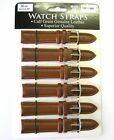 Wholesale Lot 6 x Genuine Padded Calf Grain Leather Watch Straps Tan - Regular