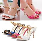 Womens Ladies Sexy Summer Metallic Slim High Heel Sandals Shoes Plus Size