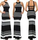 BLACK & WHITE STRIPED CAGED BACK MAXI DRESS Full Length Sleeveless Boho S M L