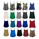Womens Plain Printed Cami Swing Vest Sleeveless Flared Top Strappy Plus Size