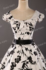 Vintage 50s 60s Floral Printed Cap sleeve Swing Dress Rockabilly party Dress JS