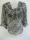 LADIES EX-CHAIN STORE BLACK/ WHITE/ GREY FLORAL SHEER 3/4 SLEEVE TOP/ TUNIC