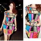 HOT Womens Summer Colorful Sexy Casual Short Mini Evening Cocktail Party Dress