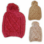 RJM Ladies Soft Chunky Bobble Beanie Hat Knitted With Pearls One Size