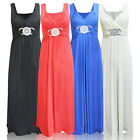 Womens Plus Size Buckle Waisted Tie Back Evening Long Maxi Dress 8-26 UK