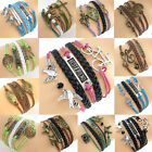Fashion Infinity Leather Charms Bracelet Lots Jewelry Wholesale Style Pick FREE