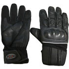 NEW MOTO'S MENS LEATHER PROTECTIVE VELCRO MOTORBIKE MOTORCYCLE BLACK GLOVES